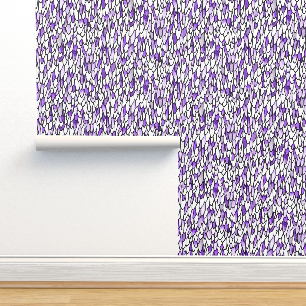 Isobar Durable Wallpaper featuring Feathers and Scales - Purple - Large by autumn_musick