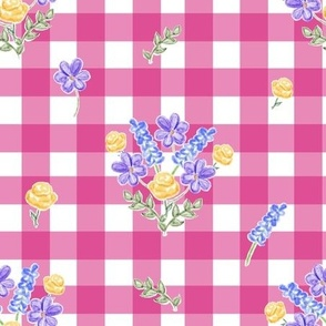 Spring Picnic Bouquets - Raspberry Gingham