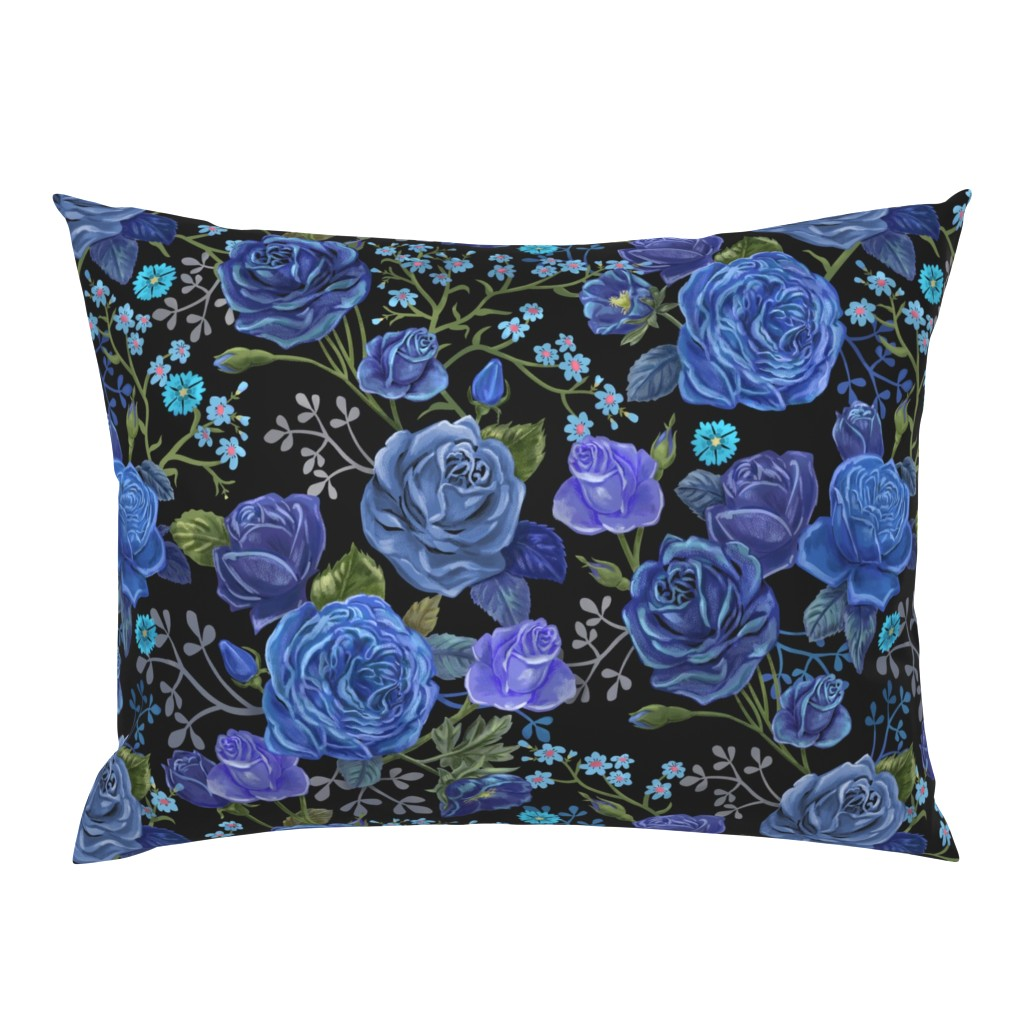 Campine Pillow Sham featuring Moody Blue Floral by vinpauld