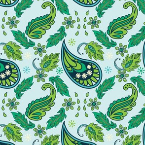 Leafy Green Paisley Seamless Pattern for Spring