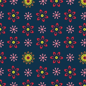 Mini Floral Pink Red Yellow Navy