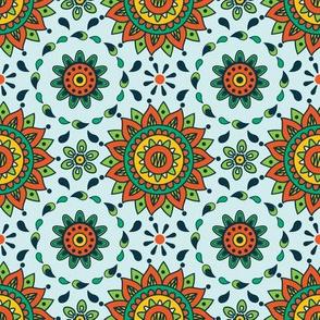 Orange Mandala Sun Seamless Pattern Bollywood