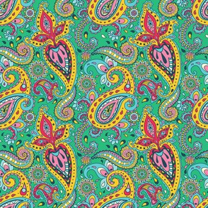 Spring Blooming Paisley Fancy India Seamless Bollywood Pattern
