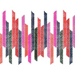 Vertical stacked stripes - textured red black pink on white
