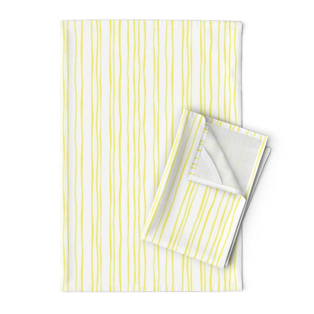 Orpington Tea Towels featuring Lemon Stripe - Narrow by autumn_musick