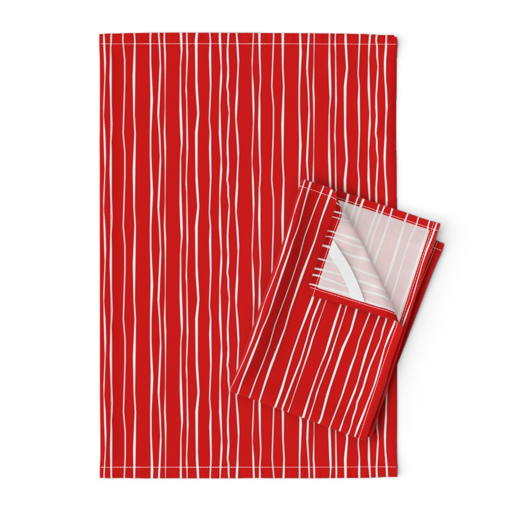 Orpington Tea Towels featuring Red Stripe - Wide  -  © Autumn Musick 2019 by autumn_musick