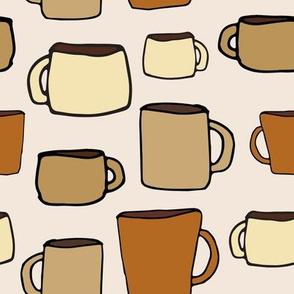 large mugs - on tan