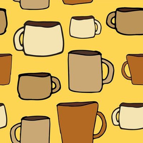 Large Mugs on Golden Yellow