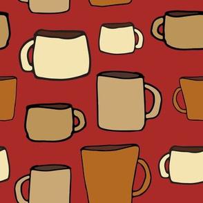 Large Mugs on Red