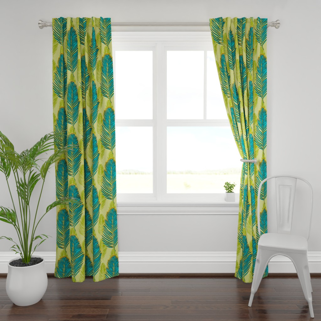 Plymouth Curtain Panel featuring large palms - green by designed_by_debby