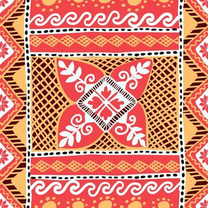 Native Ukrainian Pysanka Pattern with Sunflower Symbols