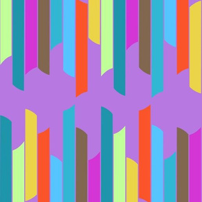 Vertical stacked stripes - brights on purple
