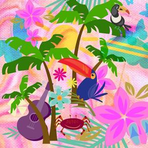 Large Exotic Island Print