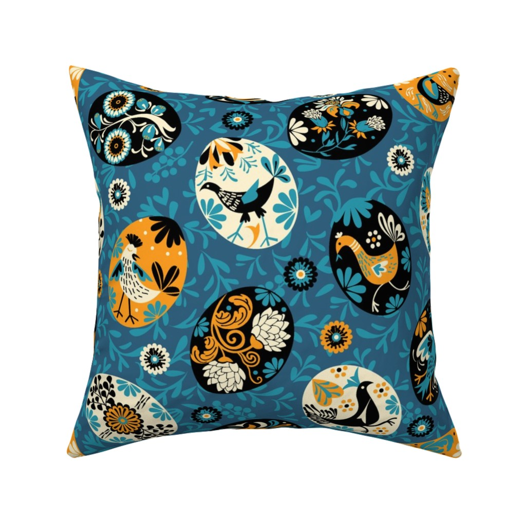 Catalan Throw Pillow featuring Pysanky decorated eggs | blue by camcreative