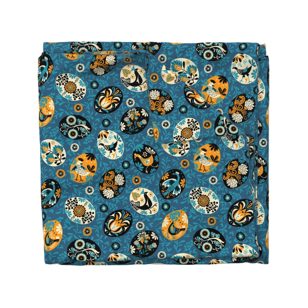 Wyandotte Duvet Cover featuring Pysanky decorated eggs | blue by camcreative