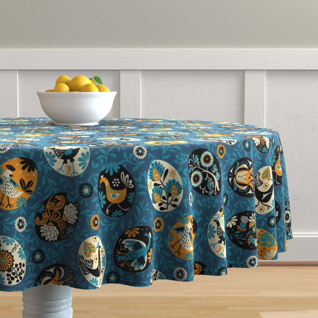 Malay Round Tablecloth featuring Pysanky decorated eggs | blue by camcreative