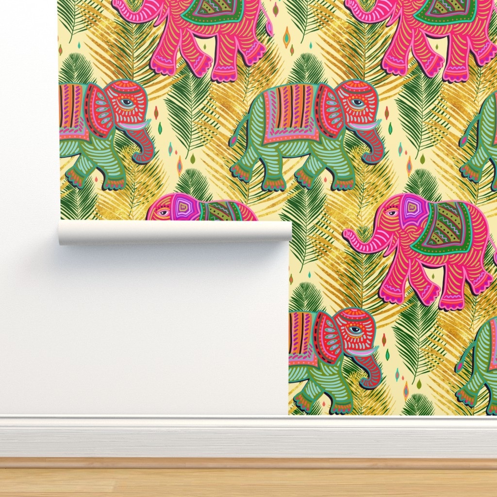 Isobar Durable Wallpaper featuring bohemian paradise elephant palms with gold by designed_by_debby