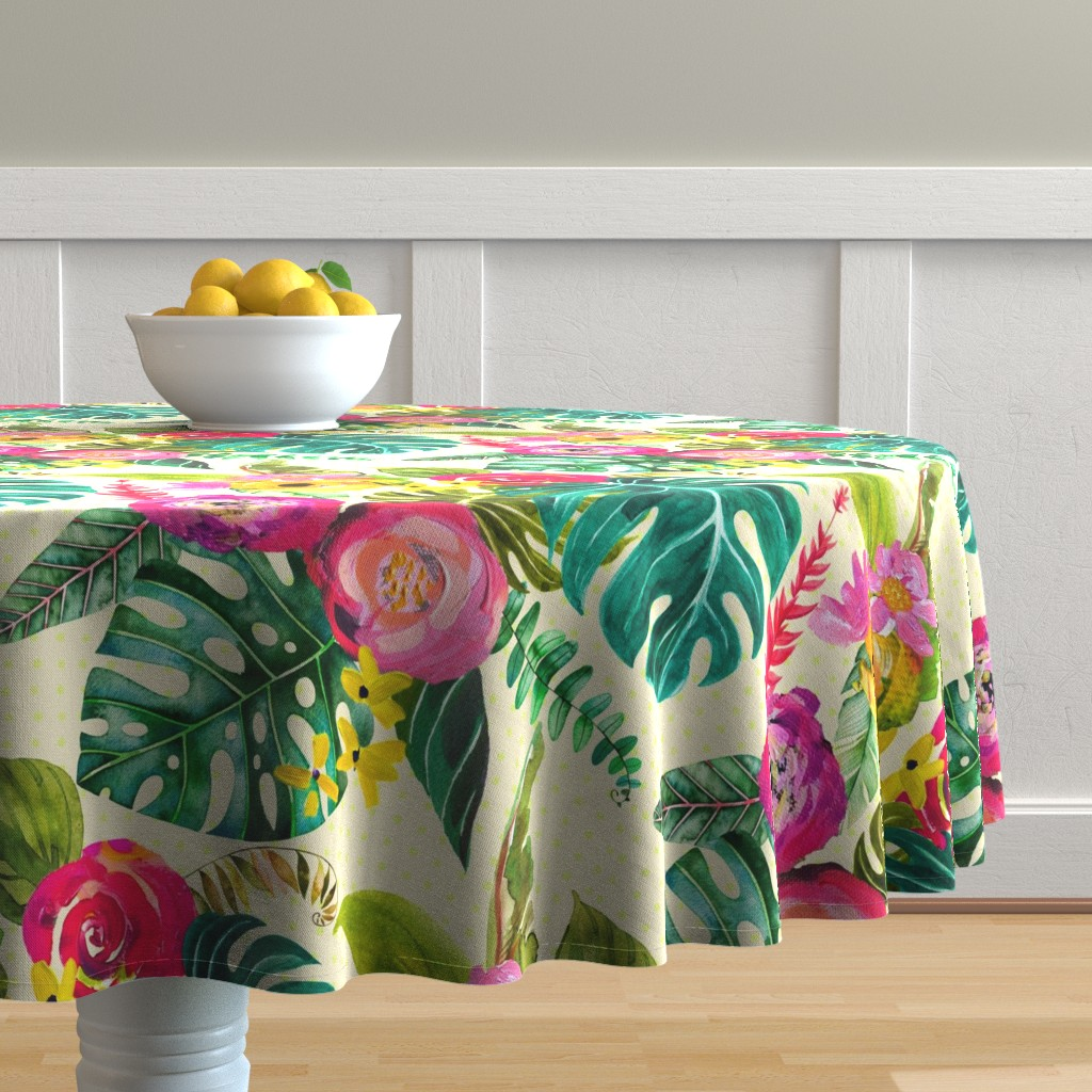 Malay Round Tablecloth featuring Boho Tropical Floral  by theartwerks