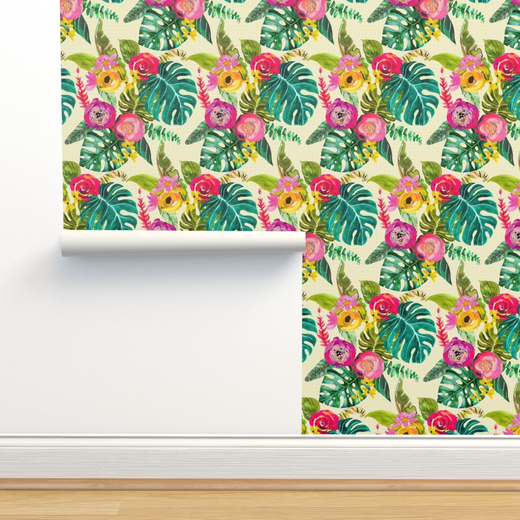 Boho Tropical Floral On Isobar By Theartwerks Roostery Home Decor