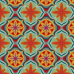 Bright Moroccan flower tile
