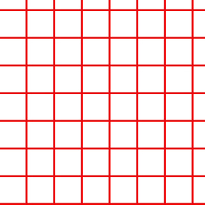 1 inch white with red grid
