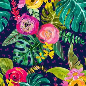 Boho Tropical Floral // Navy (Large)