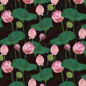 Moody Floral lotus flowers