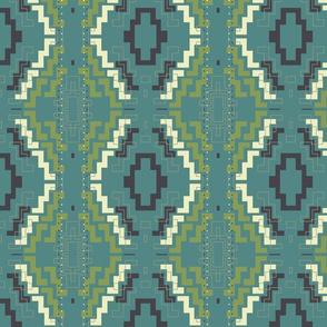Geometric Chevron Aztec Green