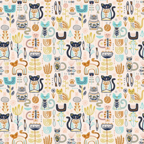 SMALLER SCALE Sweet Scandi Cats // Felines + Florals in Blush, Copper, Goldenrod, Pool Blue, Navy, and Stone // Scandinavian Flowers, Cats, Yarn, Fish, Leaves, Botanicals, Knitting, Nordic, Hygge, Starburst, Geometric, Kitties