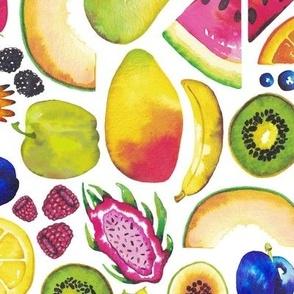 Beautiful Fruit // Watercolor Summer and Tropical Fruit // Berries, Starfruit, Dragon Fruit, Kiwi, Papaya, Pineapple, Citrus, Lemon, Lime, Pear, Cantaloupe, Banana, Plum, Zwetchgen, Blueberries, Raspeberries, Strawberries, Blackberries, Salad