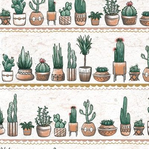Phoenix Plant Lady Terracotta Pots with Cacti + Succulents // Desert Modernism // Mid-Century Modern // Cactus, succulent, plants, trees, geometric, adobe, patio, garden, terra cotta, floral, bloom, southwest, © ZirkusDesign