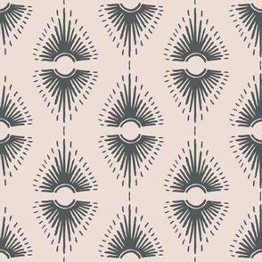 Phoenix Plant Lady Geometric Sunburst  // Desert Modernism // Mid-Century Modern // Cacti, succulents, eyes, mirrors, crystals, adobe, wallpaper, patio, desert chic