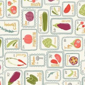 Farmer's Market Veggies TEA TOWEL in Living Coral, Goldenrod, Purple, Green, & Gray // Artichoke, Fig, Pomegranate, Bell Pepper, Capsicum, Mushroom, Lettuce, Salad, Radish, Rosemary, Lavender, Carrot, Tomato, Jalapeno, Onion, Pumpkin, Squash, Eggplant //