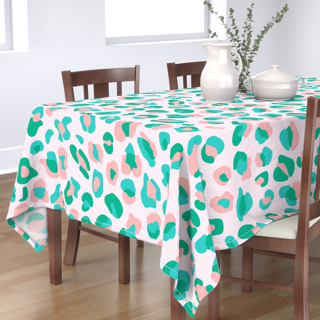 Bantam Rectangular Tablecloth featuring Leopard Spots Large (Minty Green and Pink) by michelleaitchison