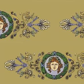 classical women with oak wreath