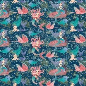 Mermaids in dark sea