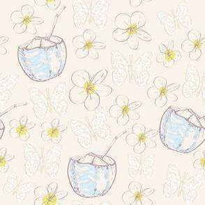plumeria flowers butterflies coconut,  contour blue gray beige yellow