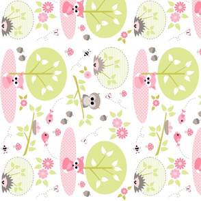 Woodland babies in pink - rotated