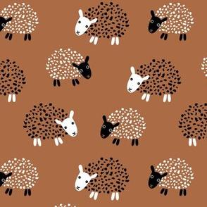 Scandinavian sweet sheep and goat illustration for kids gender neutral copper brown