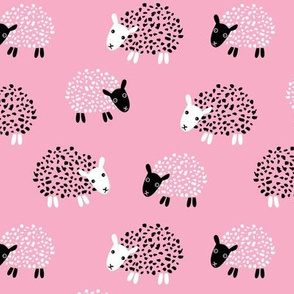 Scandinavian sweet sheep and goat illustration for kids girls pink