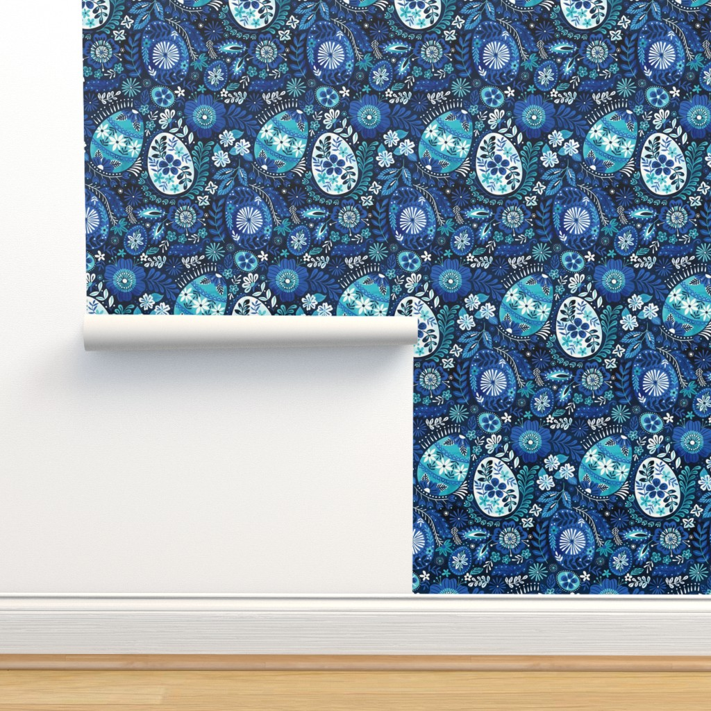 Isobar Durable Wallpaper featuring pysanky blue by laura_may_designs