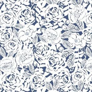 retro roses monochrome blue
