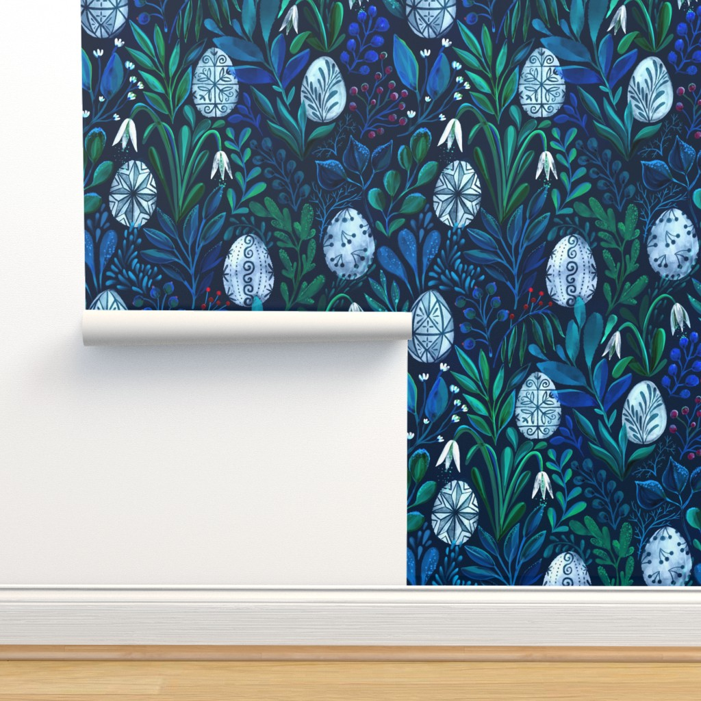 Isobar Durable Wallpaper featuring Pysanky eggs and beautiful flowers by kostolom3000 by kostolom3000