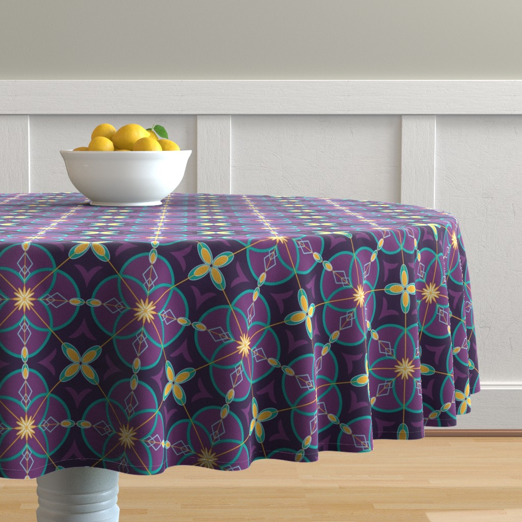 Malay Round Tablecloth featuring Pysanky Violet  by mirimo_design