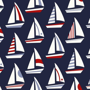 Sailboats Red White Blue