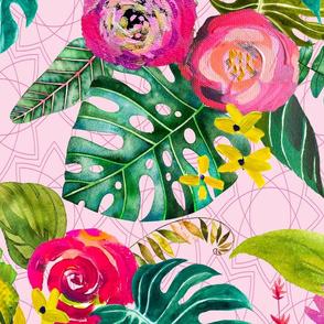 Boho Tropical Floral // Blush Geometric
