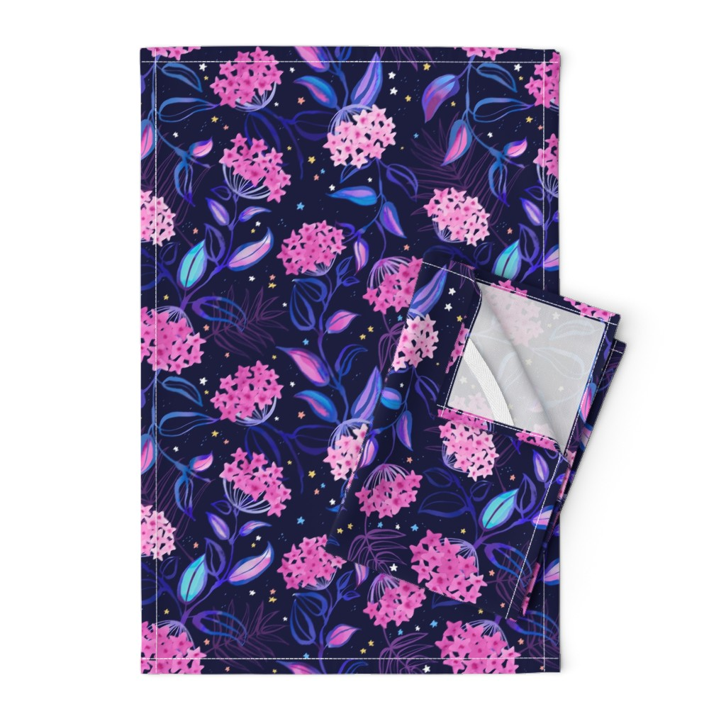 Orpington Tea Towels featuring Tropical Midnight with Hoya Blossoms by marketa_stengl