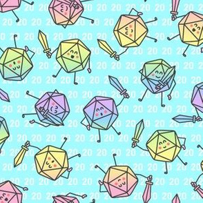 The Mighty Fighting d20s in Pastel Rainbow on Aqua