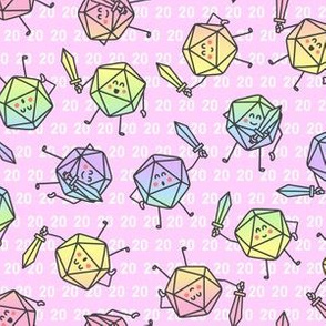 The Mighty Fighting d20s in Pastel Rainbow on Pink