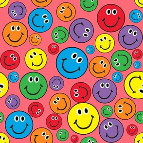 """8"""" Rainbow Smiley Faces Pattern Pink"""